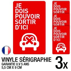 Lot de 3 autocollants / stickers stationnement interdit / 5.5 cm x 9 cm