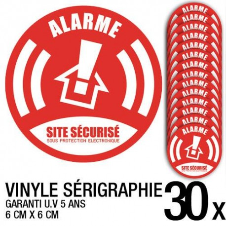 Lot de 30 autocollants / stickers Alarme sécurité / 6 cm x 6 cm
