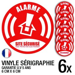 Lot de 6 autocollants / stickers Alarme sécurité / 6 cm x 6 cm