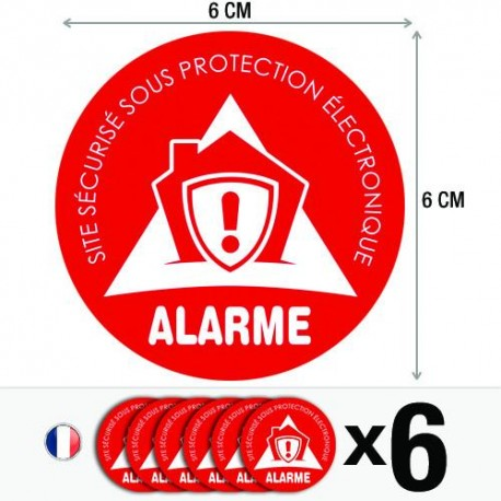 Lot de 6 autocollants / stickers Alarme sécurité / 6 cm x 6 cm  Apps   Save
