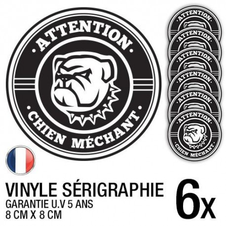 Lot de 6 autocollants / stickers Chien méchant / 8 cm x 8 cm