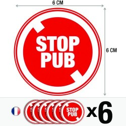 Lot de 6 autocollants / stickers stop pub / 6 cm x 6 cm