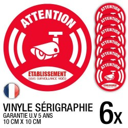 Lot de 6 autocollants / stickers Vidéosurveillance / 10 cm x 10 cm