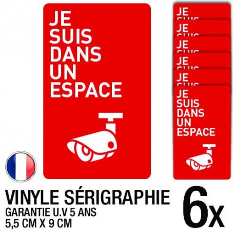 Lot de 6 autocollants / stickers Vidéosurveillance / 5.5 cm x 9 cm